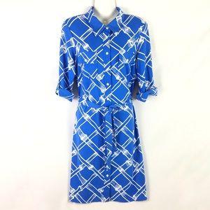 J MCLAUGHLIN   shirt dress blue bamboo print M